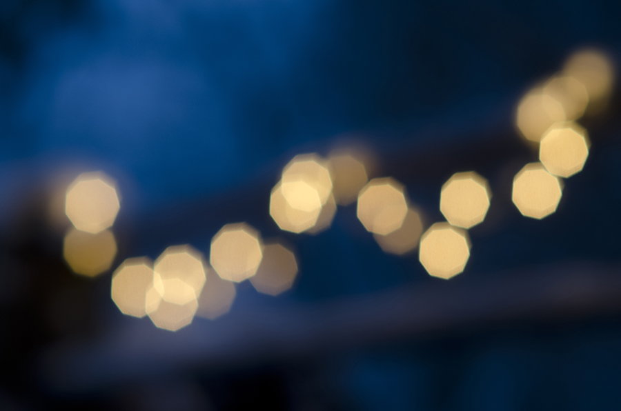 String Light Bokeh at Twilight